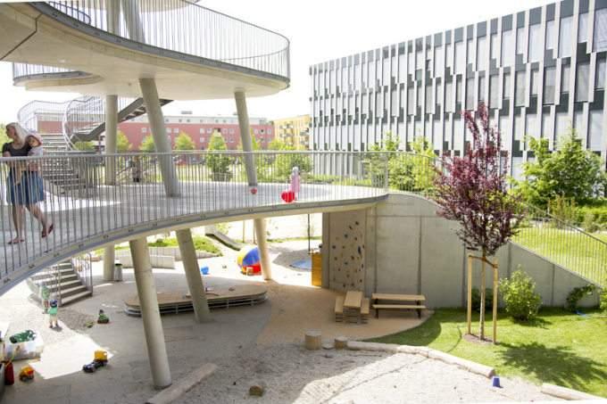 Kinderkrippe Kindergarten Parkstadt Schwabing Gebaeude Waschbetton